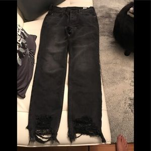 Free people distressed black button fly jeans;NEW!